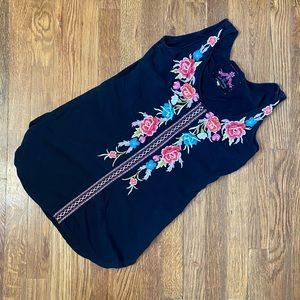 Johnny Was Embroidered Tank Top